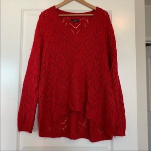 AE red knit sweater